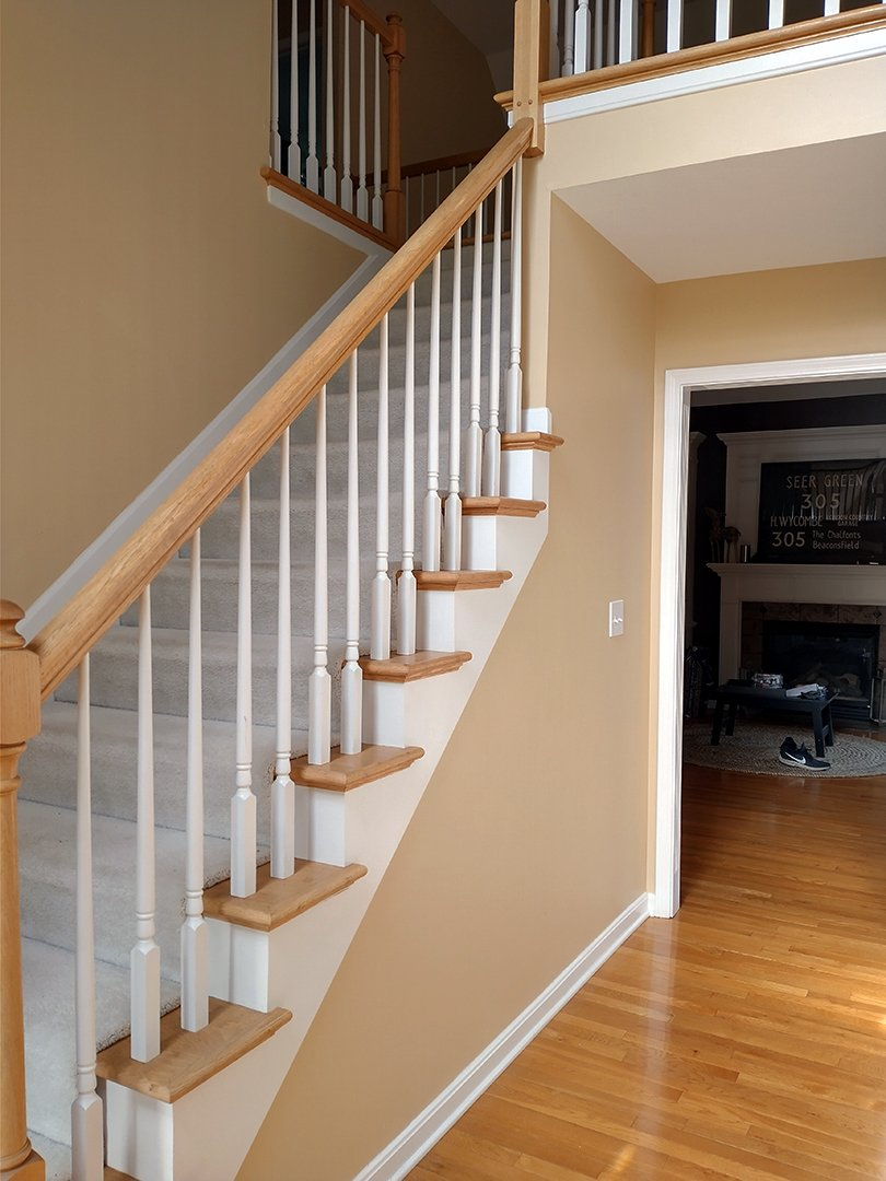 New House Tour front hallway stairs