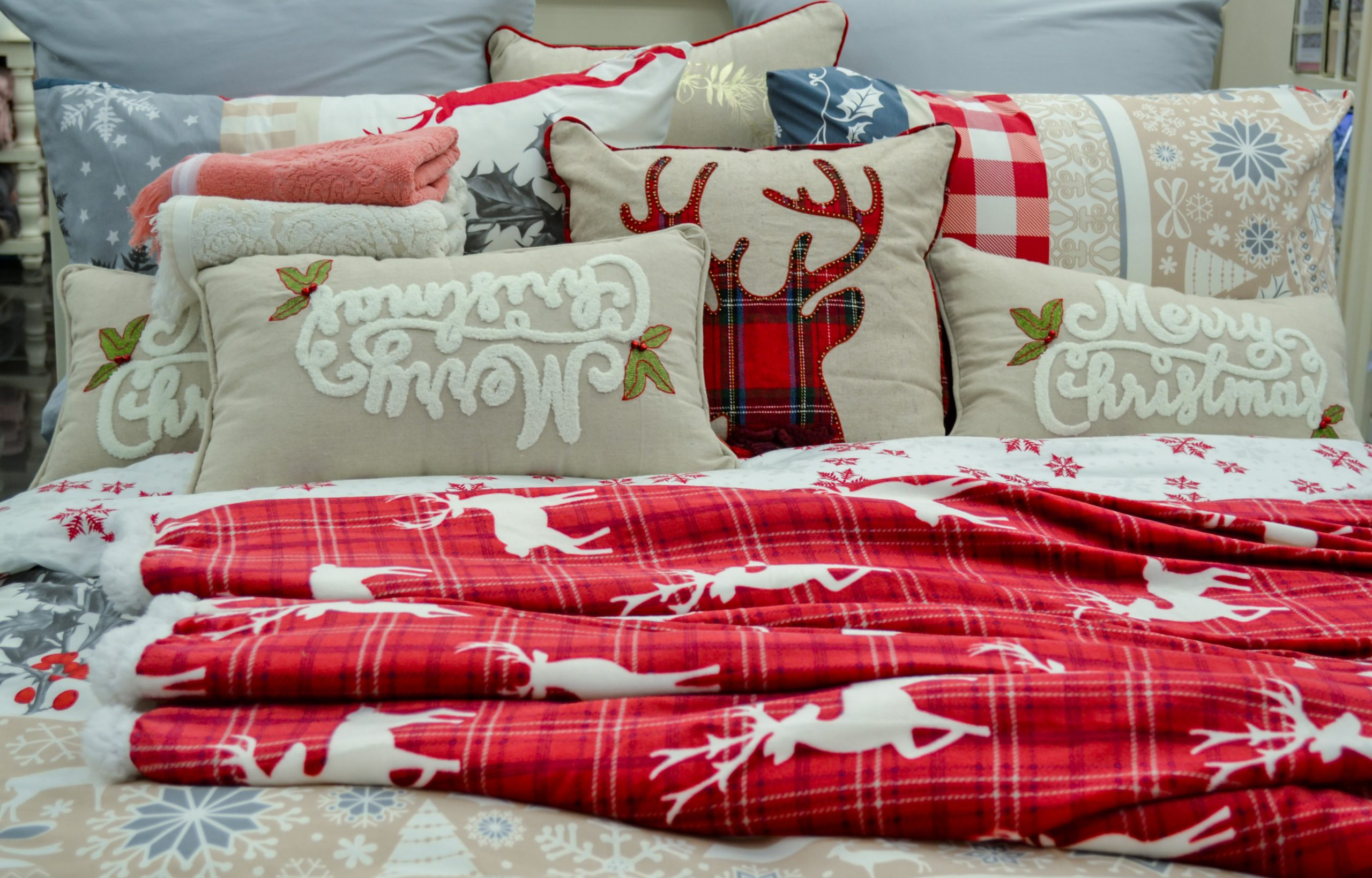 christmas bedding stock photo