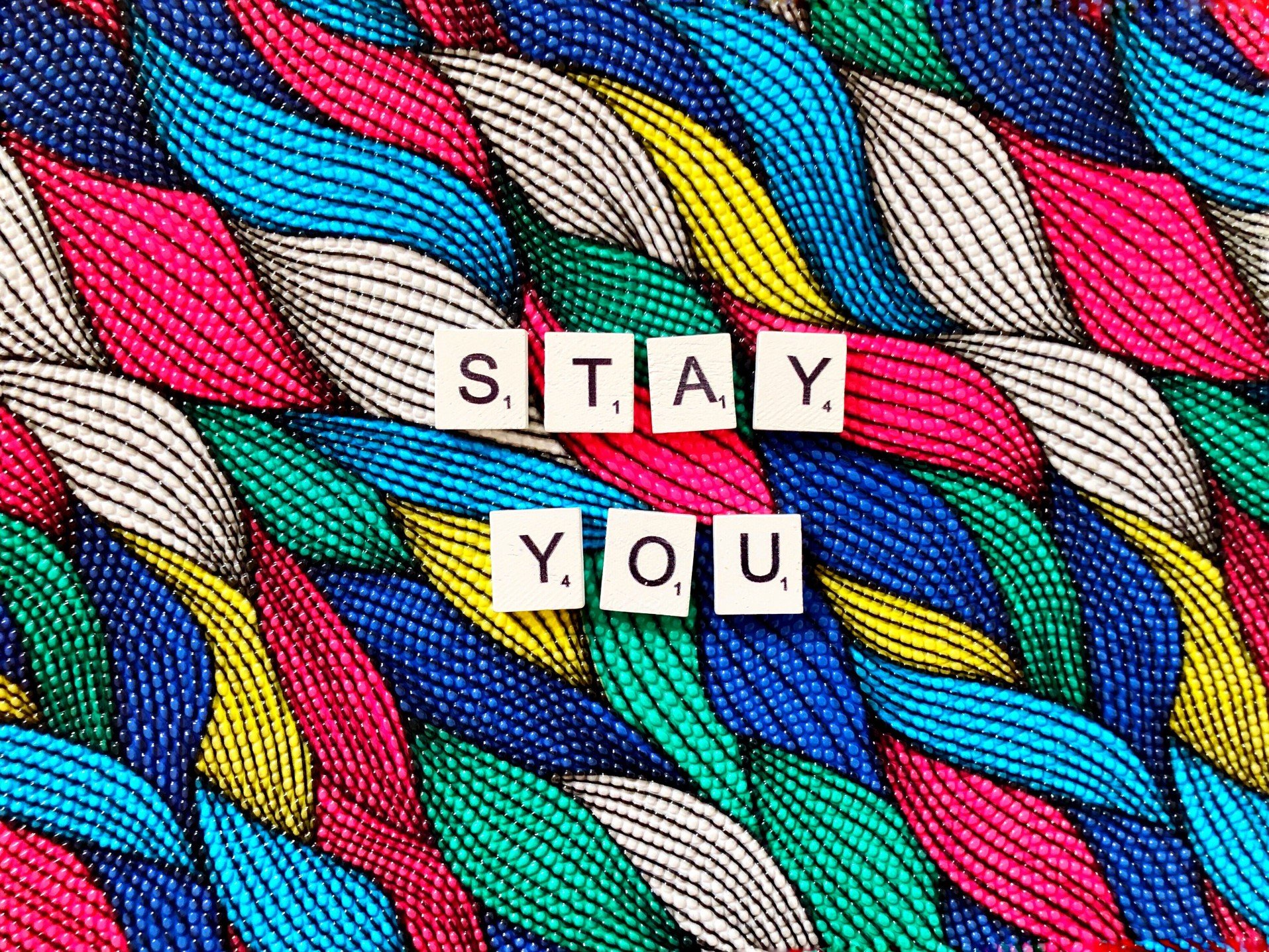 Colorful yarn says Stay You