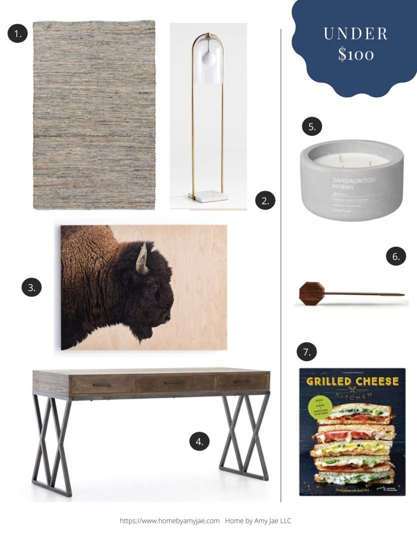 2021 Fathers Day Gift Guide home decor furnishings under $100items from Article, Pottery Barn, Crate & Barrel, Joybird, Trove, One King's Lane, Allmodern